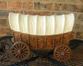 Maddux covered wagon tv lamp dated 1960 rare Maddux design vintage pottery