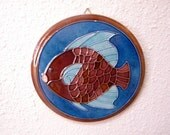 Fish trivets or wall decor blue and brown mosaic design vintage