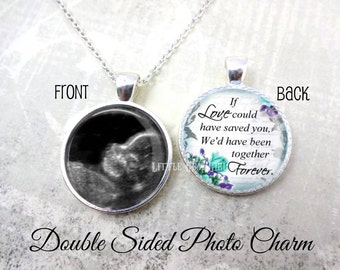 Personalized Memorial Necklace - Miscarriage Necklace - Double Sided Custom Picture Necklace - Infant Loss Jewelry Loss of a Child Necklace