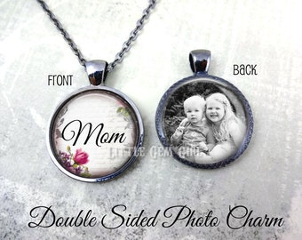 Mom Necklace - Personalized Mother's Day Mommy Jewelry - Double Sided Photo Necklace - Custom Picture Jewelry - Mom Pendant Charm