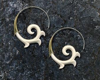 Brass, Silver and Bone Lisbeth Spirals, Fake Gauge, Organic White Bone, Cheaters, Post Earrings, Tribal, Handmade, SB3