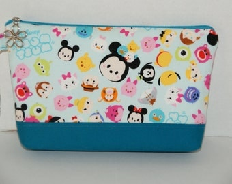 "Padded Zipper Pouch/ Cosmetic Case /Pencil Case Made with Japanese Fabric ""Tsum Tsum - Colorful #2""  Size: Medium"