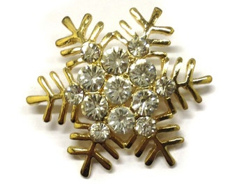 Vintage Gold and Diamantes Festive Snowflake Brooch