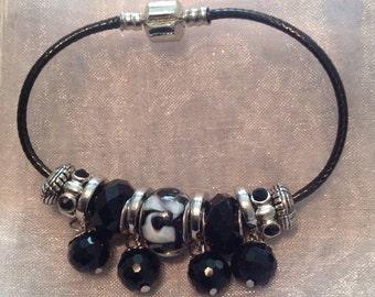 Black & white charm bracelet