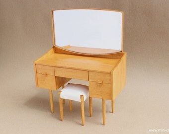 Table with mirror shabby furniture for dolls blythe barbie momoko - Handmade Furniture For Dolls In 1 6 Playscale By Minichair