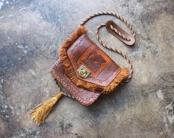 Leather Tassel Purse / Winged Bull Handbag / Vintage Brown Tooled Leather Bag