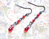 Siam Red Swarovski Crystal and Czech Glass Teardrop Earrings TCJG