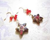 Siam Red Swarovski Crystal Gold Star Earrings TCJG