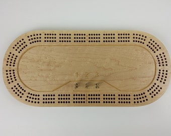 3 Track Racetrack Cribbage Board-Birdseye Maple