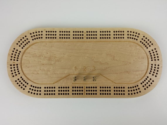 3 Track Racetrack Cribbage Board-Birdseye Maple