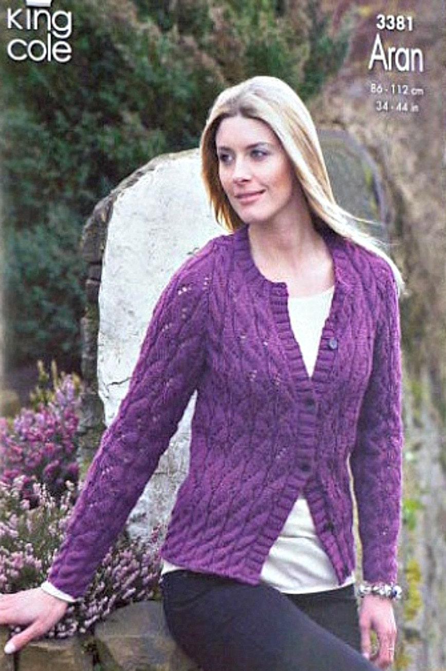 K3381 ladies long sleeve cable and lace cardigan knitting pattern k3381 ladies long sleeve cable and lace cardigan knitting pattern aran worsted king cole bankloansurffo Image collections