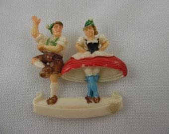 Celluloid Brooch 1940's Dancing German Boy and Girl in Traditional Costume