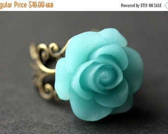 BACK to SCHOOL SALE Aqua Blue Rose Ring. Caribbean Blue Flower Ring. Gold Ring. Silver Ring. Bronze Ring. Copper Ring. Adjustable Ring. Hand