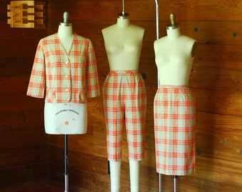 20% OFF FALL SALE / vintage 1950s Koret of California plaid three piece set / size xs