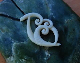 Maori koru trinity~ Handcarved in bone for Family unity & love