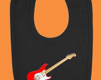 Red Guitar Baby Bib