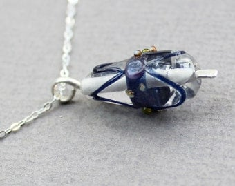 OOAK Clear and Blue Teardrop Lampwork Sterling Silver Jewelry Necklace – Free U.S Shipping- Ready to ship