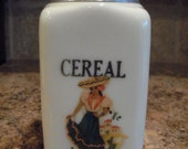 VINTAGE McKee 28oz Depression Custard Glass CEREAL Canister W/Old Mexican Decal