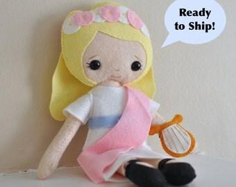 Catholic Toy Doll - Saint Cecilia - Wool Felt Blend - Catholic Toy - Felt Doll
