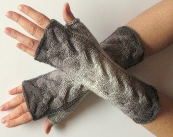Fingerless Gloves Gray Long Mittens Arm Warmers Acrylic Wool