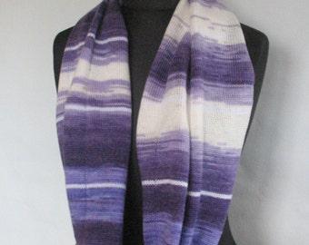 Knit Infinity Scarf Chunky Infinity Scarf Knit scarf Knit Cowl Scarf Neckwarmer Circle Scarf Chunky Scarf Violet Purple Striped