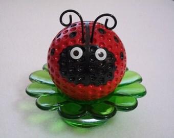 Ladybug Paperweight / Ladybug Desk Flower /  Ladybug Decor / Red Ladybug