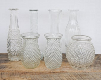 7 Vintage Clear Glass Vases Assorted Sizes and Styles