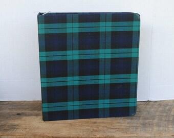 Vintage Plaid Cloth Covered 3 Ring Binder