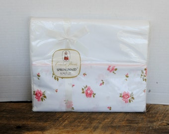 Vintage Springmaid Combed Percale Pink Roses and White Sheet 81 x 108 Flat Full