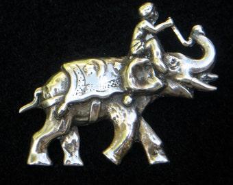 Vintage Sterling Silver Pin - Man Riding an Elephant Circa 1960's