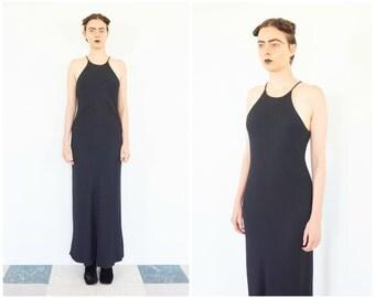 90s Black Bias Cut Halter T Maxi Dress