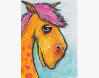 Original ACEO Colorful Horse Herbie Colored Pencil