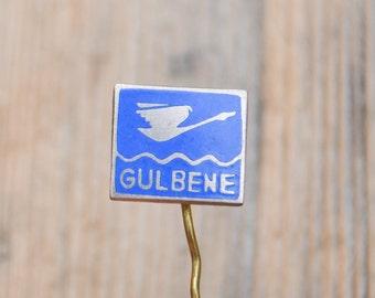 """Vintage Latvian enamel badge,pin.""""Latvian town-Gulbene"""""""