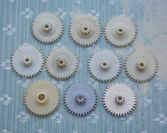 Set of 10 Vintage Soviet alarm clock plastic gears,wheels,cogs.
