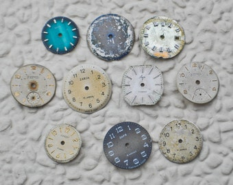 0.7 inch Set of 10 vintage watch faces,dial,circle.