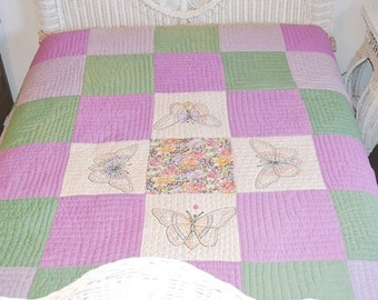 Antique Handstitched Embroidered Butterfly Quilt