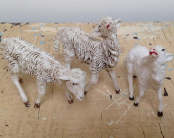 3 Vintage Nativity sheep, plastic, made in Italy