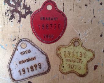 Set of 3 vintage shabby bike identification plates