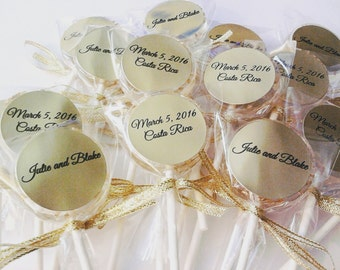 12 WEDDING LOLLIPOPS with Gold Edible Crystals, Ribbon, and Personalized Labels - Bridal Shower and Wedding Favors