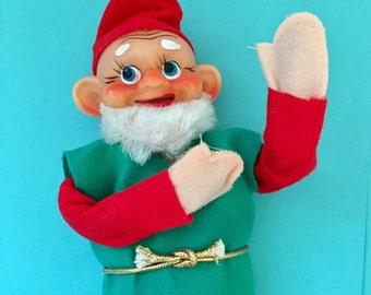 Vintage 9 inch Christmas Pixie Elf, Made in Japan, Poseable Large Bearded 1950s Xmas Elf