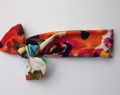 Bright and bold jersey knit baby knotted headband- colorful flowers