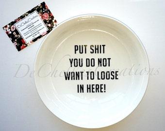"Custom personalized ""Hubby bowl"" ring dish"