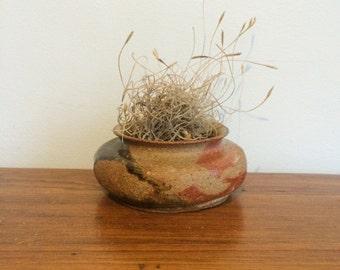 Vintage Stoneware Planter / Earth Tone Glazed Studio Pottery / Handmade 70s Drip Glaze Pot