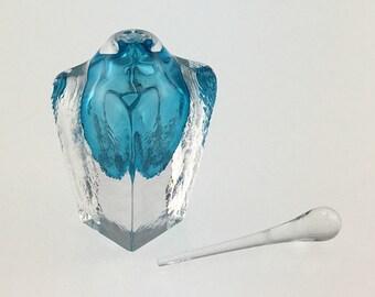 Hand Blown Glass Perfume Bottle - Aquamarine Blue Cubic  by Jonathan Winfisky