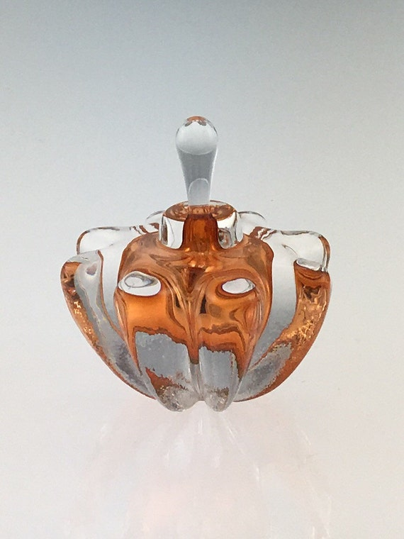 Hand Blown Glass Perfume Bottle - Aurora Orange Optic  by Jonathan Winfisky