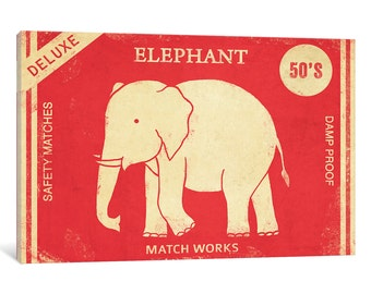 iCanvas Elephant Safety Matches Gallery Wrapped Canvas Art Print by Terry Fan