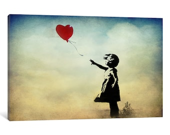 iCanvas Girl with a Balloon Watercolor Gallery Wrapped Canvas Art Print by Banksy