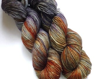 Hand Dyed Yarn - Merino / Cashmere / Nylon Sock Weight - Ausable Sock in Green Bohemia Colorway