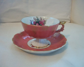 Vintage Floral Japan Tea Cup And Saucer Set