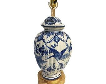 Antique Delft Lamp on Gilt Base